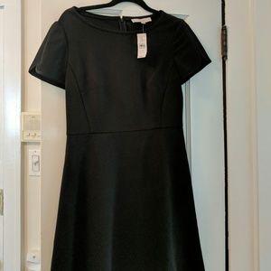 Black short sleeve A-line, zip back dress